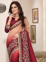 Maroon and Peach Cotton Silk Ceremonial Shaded Saree