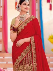 Maroon and Red Embroidered Designer Half N Half Saree