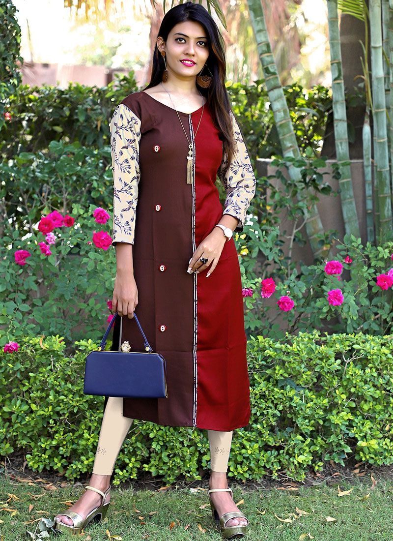 Maroon and Red Printed Party Wear Kurti