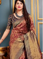 Maroon Art Banarasi Silk Designer Traditional Saree