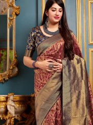 Maroon Art Banarasi Silk Designer Traditional Saree