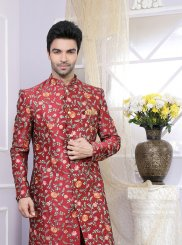 Maroon Art Banarasi Silk Kurta Pyjama