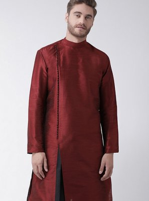 Maroon Art Dupion Silk Wedding Kurta Pyjama
