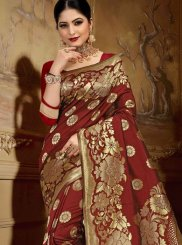 Maroon Art Silk Abstract Print Classic Saree
