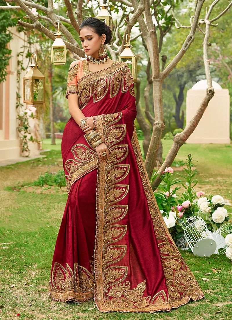 Maroon Art Silk Classic Saree