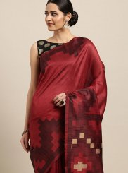 Maroon Art Silk Designer Traditional Saree