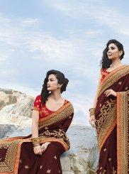 Maroon Art Silk Mehndi Classic Saree