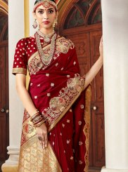 Maroon Art Silk Traditional Designer Saree