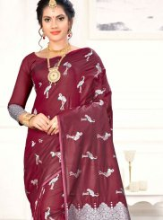 Maroon Art Silk Weaving Designer Traditional Saree