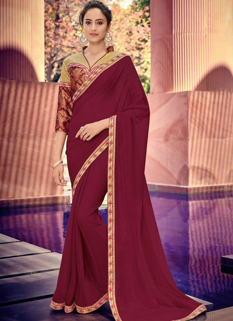 Maroon Border Designer Saree