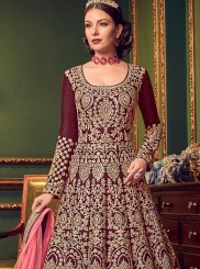 Maroon Bridal Floor Length Anarkali Suit