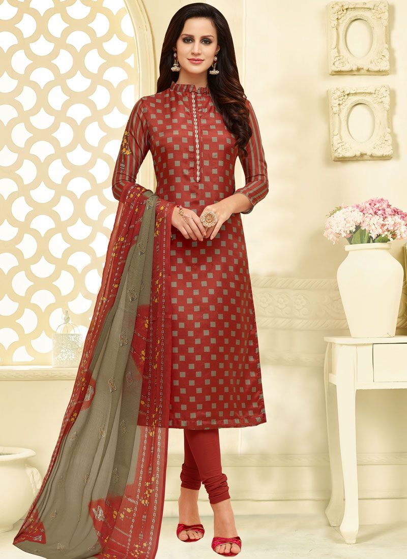 Maroon Casual Chanderi Cotton Churidar Suit