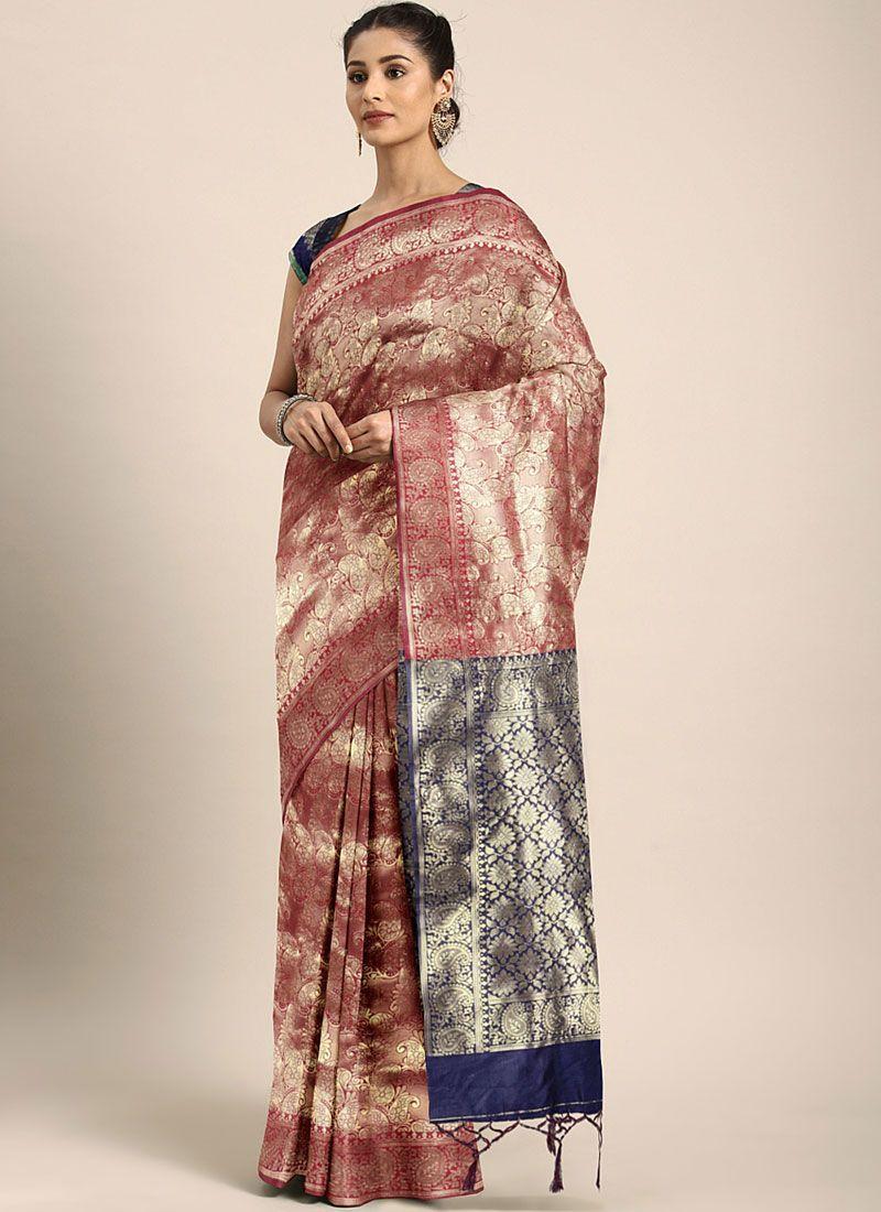 Maroon Casual Traditional Saree