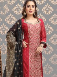 Maroon Ceremonial Chanderi Churidar Designer Suit