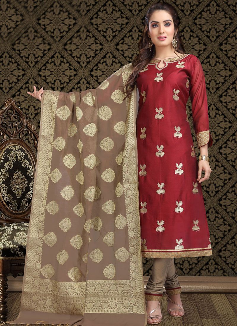 Maroon Ceremonial Churidar Designer Suit