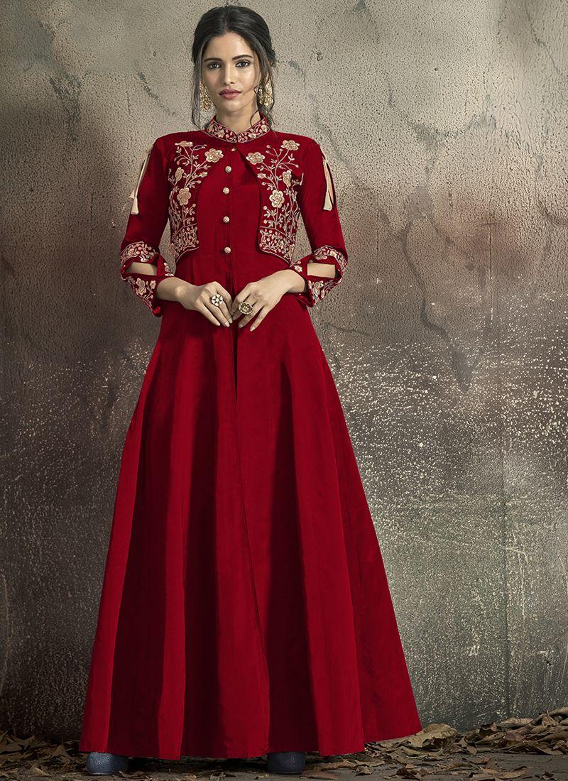 Maroon Ceremonial Designer Gown