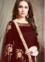 Maroon Ceremonial Designer Patiala Suit