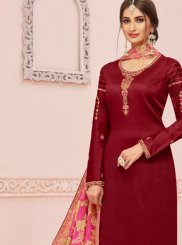 Maroon Color Churidar Salwar Kameez