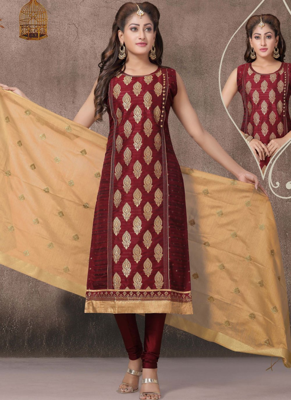 Maroon Color Churidar Salwar Suit