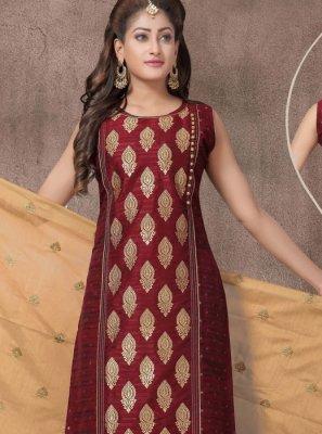 Maroon Color Churidar Salwar Suit