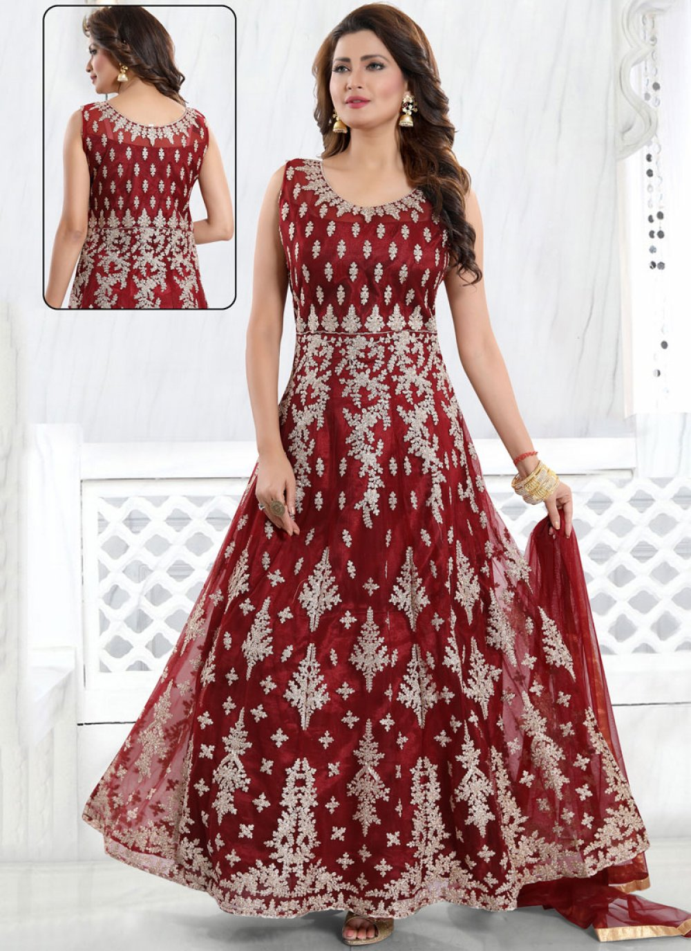 Maroon Color Readymade Suit