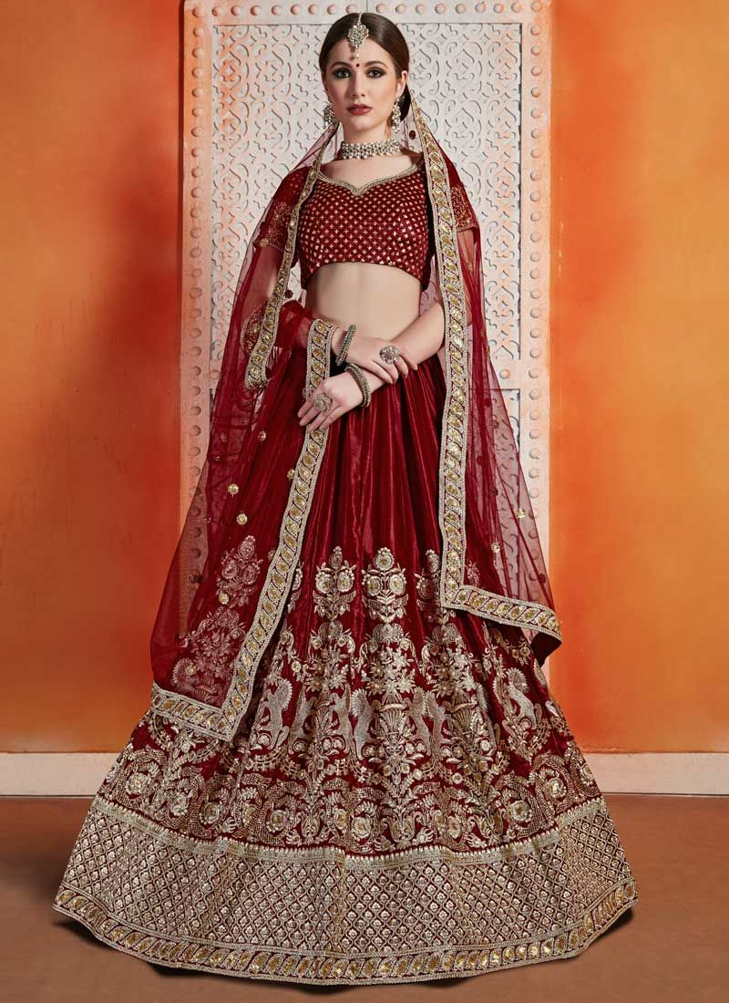 Maroon Color Trendy A Line Lehenga Choli