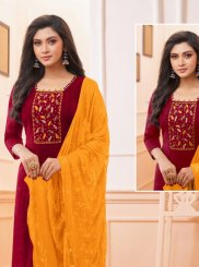 Maroon Cotton Casual Trendy Churidar Suit