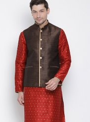 Maroon Cotton Ceremonial Kurta Payjama With Jacket