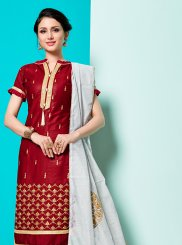 Maroon Cotton Churidar Designer Suit