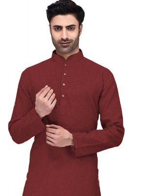 Maroon Cotton Plain Kurta