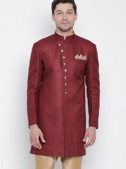 Maroon Cotton Plain Kurta Payjama With Jacket