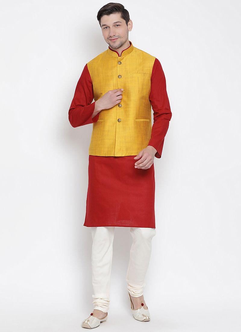 Maroon Cotton Sangeet Kurta Payjama With Jacket