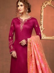 Maroon Cotton Silk Churidar Salwar Suit