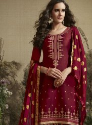 Maroon Cotton Silk Designer Patiala Suit