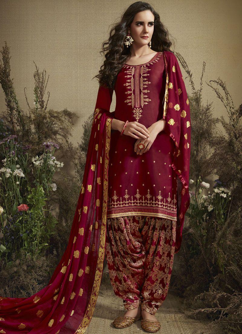 Maroon Cotton Silk Designer Patiala Suit