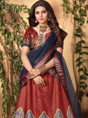 Maroon Digital Print Satin Trendy Lehenga Choli