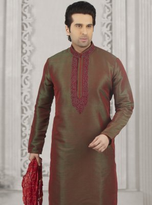 Maroon Embroidered Art Banarasi Silk Kurta Pyjama