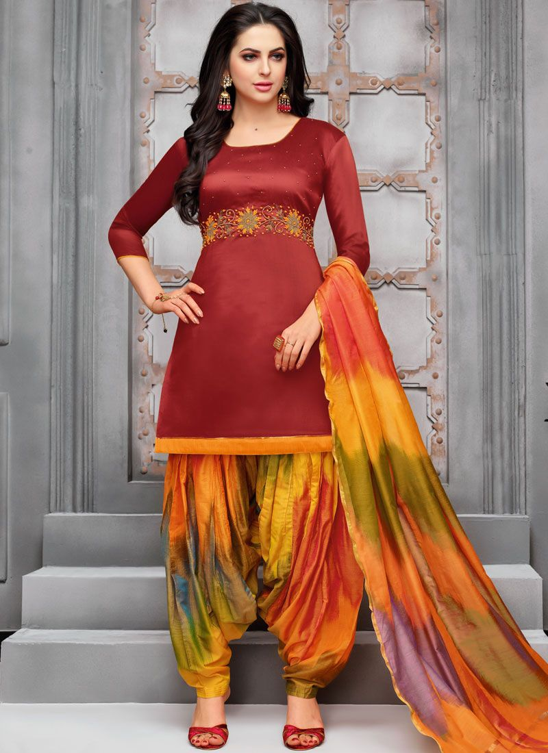 Maroon Embroidered Art Silk Designer Patiala Suit