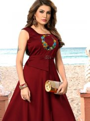 Maroon Embroidered Art Silk Readymade Gown