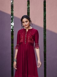 Maroon Embroidered Casual Kurti