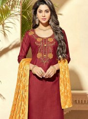 Maroon Embroidered Churidar Designer Suit