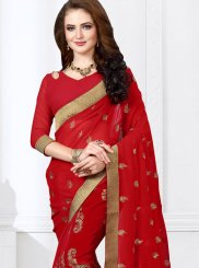 Maroon Embroidered Classic Designer Saree