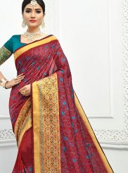 Maroon Embroidered Cotton Classic Designer Saree
