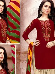 Maroon Embroidered Cotton   Punjabi Suit