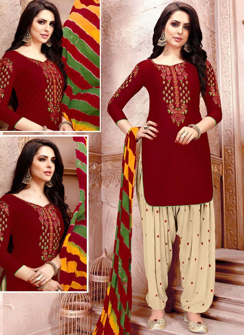 Maroon Embroidered Cotton   Punjabi Suit