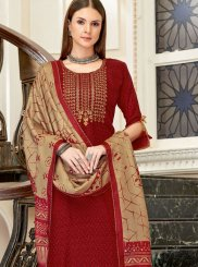 Maroon Embroidered Designer Palazzo Suit
