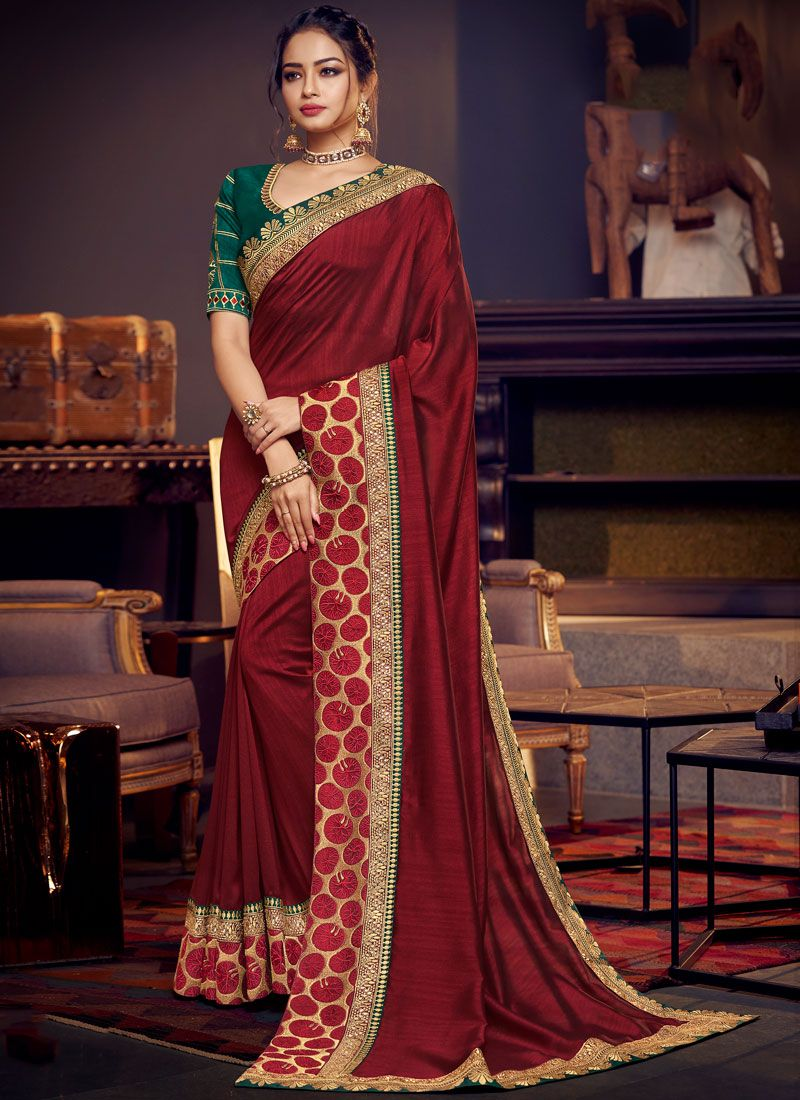 Maroon Embroidered Fancy Fabric Classic Saree