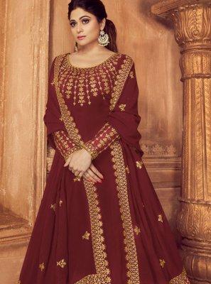 Maroon Embroidered Faux Georgette Anarkali Salwar Suit