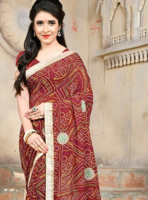 Maroon Embroidered Faux Georgette Casual Saree