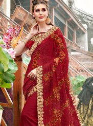 Maroon Embroidered Georgette Classic Saree